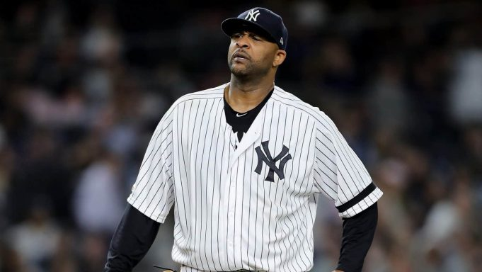 NEW YORK, NEW YORK - SEPTEMBER 18: CC Sabathia #52 of the New York Yankees reacts as he is about to be pulled from the game in the third inning against the Los Angeles Angels at Yankee Stadium on September 18, 2019 in the Bronx borough of New York City.