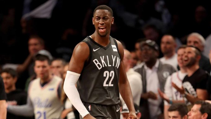 NEW YORK, NEW YORK - APRIL 20: Caris LeVert #22 of the Brooklyn Nets reacts in the first half against the Philadelphia 76ers at Barclays Center on April 20, 2019 in the Brooklyn borough of New York City. NOTE TO USER: User expressly acknowledges and agrees that, by downloading and or using this photograph, User is consenting to the terms and conditions of the Getty Images License Agreement.