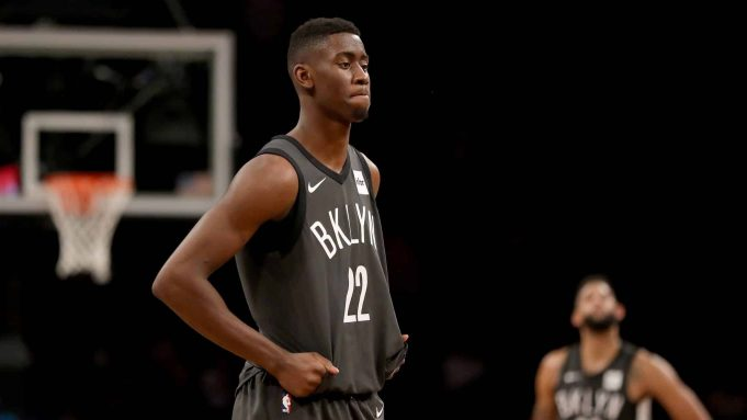 NEW YORK, NY - DECEMBER 14: Caris LeVert #22 of the Brooklyn Nets reacts to the loss to the New York Knicks at the Barclays Center on December 14, 2017 in the Brooklyn borough of New York City. NOTE TO USER: User expressly acknowledges and agrees that, by downloading and or using this Photograph, user is consenting to the terms and conditions of the Getty Images License Agreement.