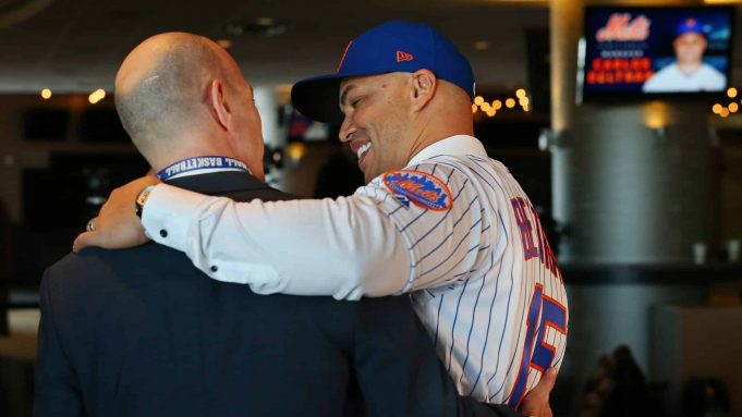 NEW YORK, NY - NOVEMBER 04: Carlos Beltran hugs radio broadcaster Gary Cohen after being introduced by as the manager of the New York Mets during a press conference at Citi Field on November 4, 2019 in New York City.