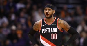 PHOENIX, ARIZONA - DECEMBER 16: Carmelo Anthony #00 of the Portland Trail Blazers during the first half of the NBA game against the Phoenix Suns at Talking Stick Resort Arena on December 16, 2019 in Phoenix, Arizona. NOTE TO USER: User expressly acknowledges and agrees that, by downloading and/or using this photograph, user is consenting to the terms and conditions of the Getty Images License Agreement.