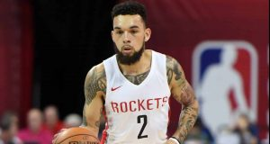 LAS VEGAS, NEVADA - JULY 11: Chris Chiozza #2 of the Houston Rockets brings the ball up the court against the Utah Jazz during the 2019 NBA Summer League at the Thomas & Mack Center on July 11, 2019 in Las Vegas, Nevada. NOTE TO USER: User expressly acknowledges and agrees that, by downloading and or using this photograph, User is consenting to the terms and conditions of the Getty Images License Agreement.