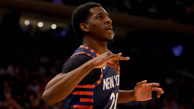 NEW YORK, NEW YORK - JANUARY 16: Damyean Dotson #21 of the New York Knicks celebrates his three point shot in the first half against the Phoenix Suns at Madison Square Garden on January 16, 2020 in New York City.