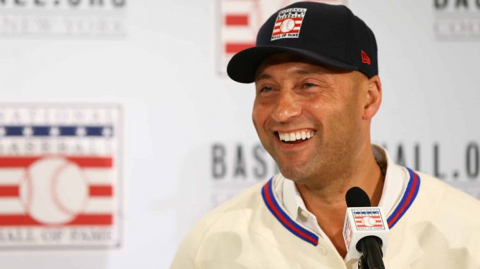 NEW YORK, NEW YORK - JANUARY 22: Derek Jeter speaks to the media after being elected into the National Baseball Hall of Fame Class of 2020 on January 22, 2020 at the St. Regis Hotel in New York City. The National Baseball Hall of Fame induction ceremony will be held on Sunday, July 26, 2020 in Cooperstown, NY.
