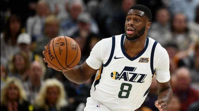 SALT LAKE CITY, UT - OCTOBER 23: Emmanuel Mudiay #8 of the Utah Jazz in action during a opening night game against the Oklahoma City Thunder at Vivint Smart Home Arena on October 23, 2019 in Salt Lake City, Utah. NOTE TO USER: User expressly acknowledges and agrees that, by downloading and or using this photograph, User is consenting to the terms and conditions of the Getty Images License Agreement.