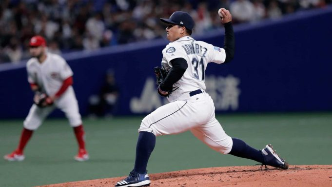 NAGOYA, JAPAN - NOVEMBER 15: Pitcher Erasmo Ramirez #31 of the Seattle Mariners throws in the top of 2nd inning during the game six between Japan and MLB All Stars at Nagoya Dome on November 15, 2018 in Nagoya, Aichi, Japan.