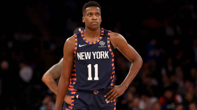 NEW YORK, NEW YORK - JANUARY 16: Frank Ntilikina #11 of the New York Knicks reacts late in the game against the Phoenix Suns at Madison Square Garden on January 16, 2020 in New York City.The Phoenix Suns defeated the New York Knicks 121-98.NOTE TO USER: User expressly acknowledges and agrees that, by downloading and or using this photograph, User is consenting to the terms and conditions of the Getty Images License Agreement.