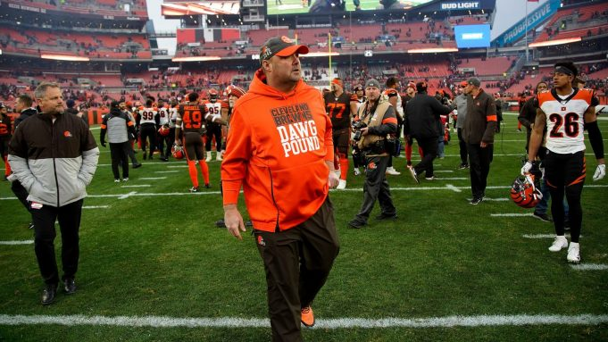 CLEVELAND, OH - DECEMBER 8: Head coach Freddie Kitchens of the Cleveland Browns walks off of the field after the game against the Cincinnati Bengals at FirstEnergy Stadium on December 8, 2019 in Cleveland, Ohio. Cleveland defeated Cincinnati 27-19.