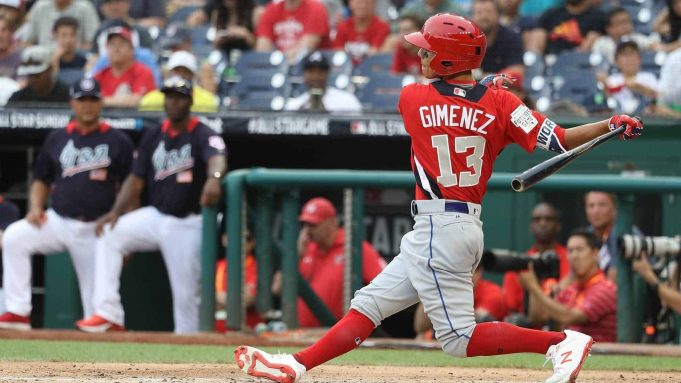 WASHINGTON, DC - JULY 15: Andres Gimenez #13 at bat during the SiriusXM All-Star Futures Game at Nationals Park on July 15, 2018 in Washington, DC.
