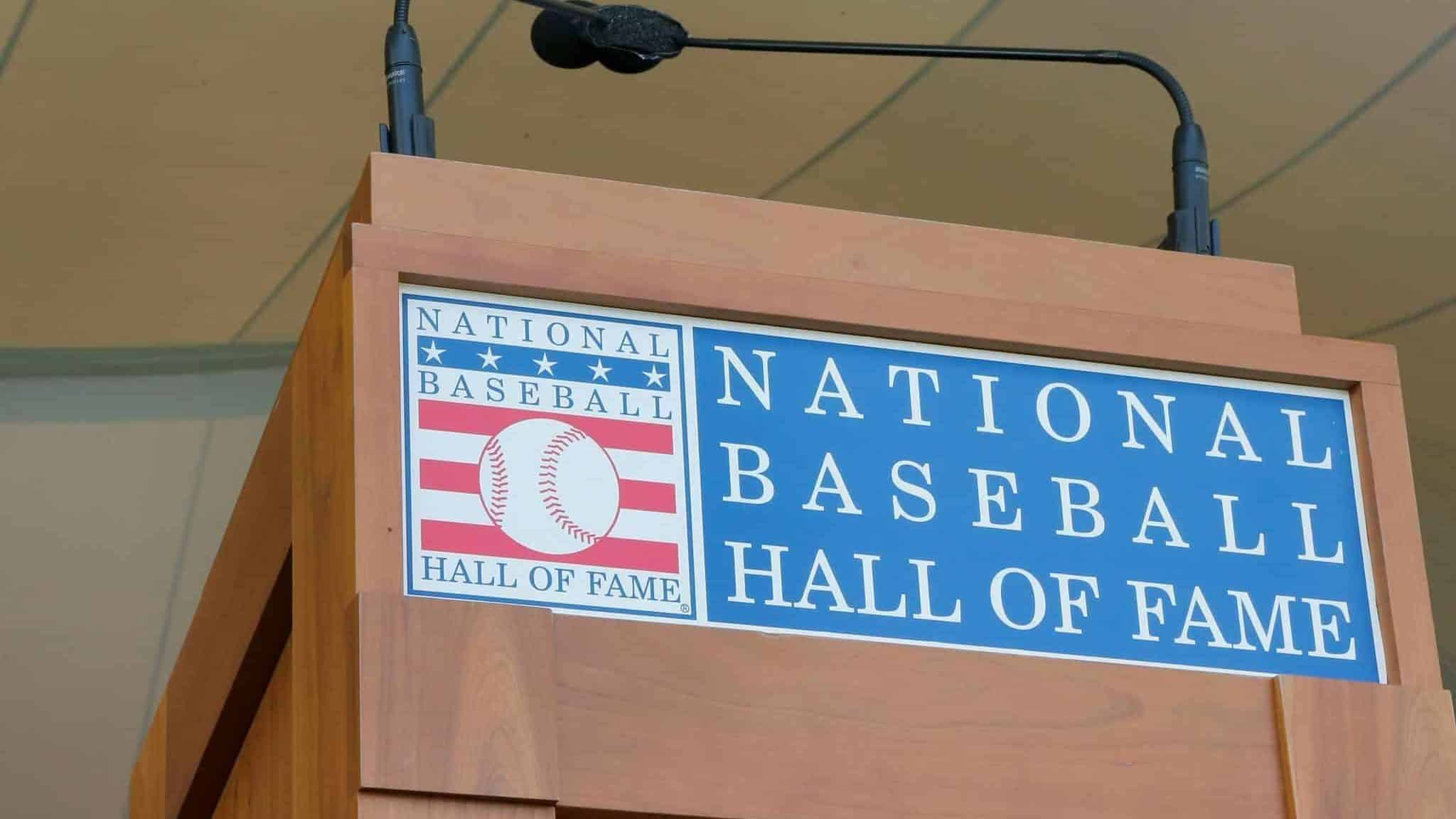 COOPERSTOWN, NY - JULY 29: The podium is seen at Clark Sports Center during the Baseball Hall of Fame induction ceremony on July 29, 2018 in Cooperstown, New York.