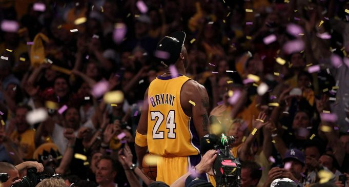 LOS ANGELES, CA - JUNE 17: Kobe Bryant #24 of the Los Angeles Lakers celebrates after the Lakers defeated the Boston Celtics in Game Seven of the 2010 NBA Finals at Staples Center on June 17, 2010 in Los Angeles, California. NOTE TO USER: User expressly acknowledges and agrees that, by downloading and/or using this Photograph, user is consenting to the terms and conditions of the Getty Images License Agreement.