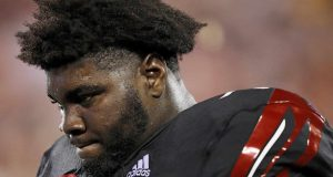 LOUISVILLE, KY - OCTOBER 05: Mekhi Becton #73 of the Louisville Cardinals reacts in the second half of the game against the Georgia Tech Yellow Jackets at Cardinal Stadium on October 5, 2018 in Louisville, Kentucky.