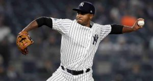 NEW YORK, NEW YORK - OCTOBER 08: Stephen Tarpley #71 of the New York Yankees throws a pitch against the Boston Red Sox during the eighth inning in Game Three of the American League Division Series at Yankee Stadium on October 08, 2018 in the Bronx borough of New York City.