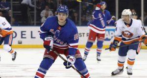 NEW YORK, NEW YORK - NOVEMBER 21: Lias Andersson #50 of the New York Rangers skates against the New York Islanders at Madison Square Garden on November 21, 2018 in New York City. The Rangers shut out the Islanders 5-0.