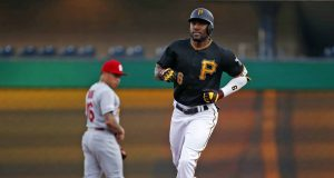 PITTSBURGH, PA - JULY 23: Starling Marte #6 of the Pittsburgh Pirates rounds second base after hitting a three-run home run in the first inning against the St. Louis Cardinals at PNC Park on July 23, 2019 in Pittsburgh, Pennsylvania.