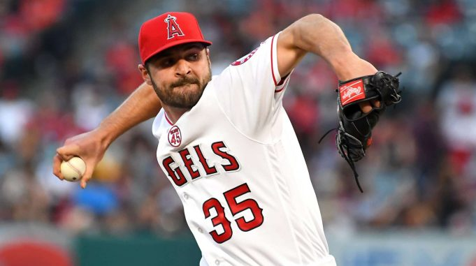 ANAHEIM, CA - JULY 26: Nick Tropeano #35 of the Los Angeles Angels pitches in the first inning of the game against the Baltimore Orioles at Angel Stadium of Anaheim on July 26, 2019 in Anaheim, California.