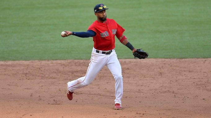 LONDON, ENGLAND - JUNE 30: Eduardo Nunez #36 of the Boston Red Sox fields during the MLB London Series game between the New York Yankees and the Boston Red Sox at London Stadium on June 30, 2019 in London, England.