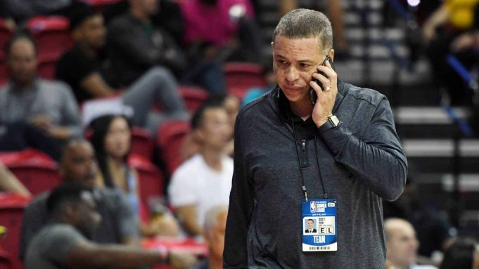 LAS VEGAS, NEVADA - JULY 07: General manager Scott Perry of the New York Knicks talks on a phone as he attends a game between the Knicks and the Phoenix Suns during the 2019 NBA Summer League at the Thomas & Mack Center on July 7, 2019 in Las Vegas, Nevada.