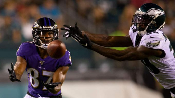 PHILADELPHIA, PA - AUGUST 22: Joe Horn Jr. #87 of the Baltimore Ravens cannot make the catch a pass against Jeremiah McKinnon #38 of the Philadelphia Eagles in the third quarter of the preseason game at Lincoln Financial Field on August 22, 2019 in Philadelphia, Pennsylvania.