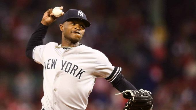 BOSTON, MA - SEPTEMBER 06: Domingo German #55 of the New York Yankees pitch sin the first inning of a game against the Boston Red Sox at Fenway Park on September 6, 2019 in Boston, Massachusetts.