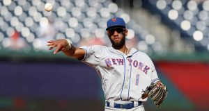 WASHINGTON, DC - SEPTEMBER 04: Amed Rosario #1 of the New York Mets throws the ball in against the Washington Nationals at Nationals Park on September 04, 2019 in Washington, DC.