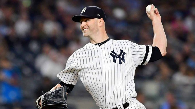 NEW YORK, NEW YORK - SEPTEMBER 20: J.A. Happ #34 of the New York Yankees pitches in the first inning of their game against the Toronto Blue Jays at Yankee Stadium on September 20, 2019 in the Bronx borough of New York City.