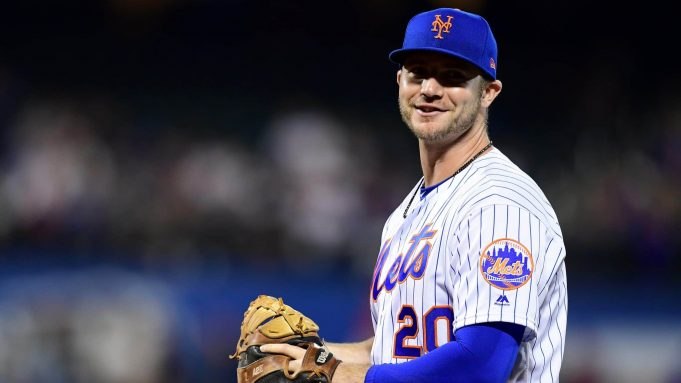 NEW YORK, NEW YORK - SEPTEMBER 26: Pete Alonso #20 of the New York Mets smiles in the third inning of their game against the Miami Marlins at Citi Field on September 26, 2019 in the Flushing neighborhood of the Queens borough in New York City.