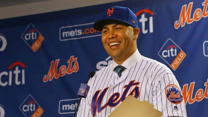 NEW YORK, NY - NOVEMBER 04: Carlos Beltran talks after being introduced as manager of the New York Mets during a press conference at Citi Field on November 4, 2019 in New York City.