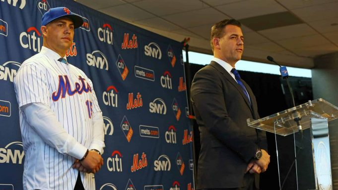 NEW YORK, NY - NOVEMBER 04: Carlos Beltran, left, is introduced by General Manager Brodie Van Wagenen during a press conference at Citi Field on November 4, 2019 in New York City.