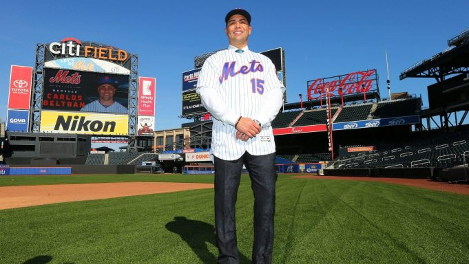 NEW YORK, NY - NOVEMBER 04: Carlos Beltran poses for pictures after being introduced as the next manager of the New York Mets during a press conference at Citi Field on November 4, 2019 in New York City.