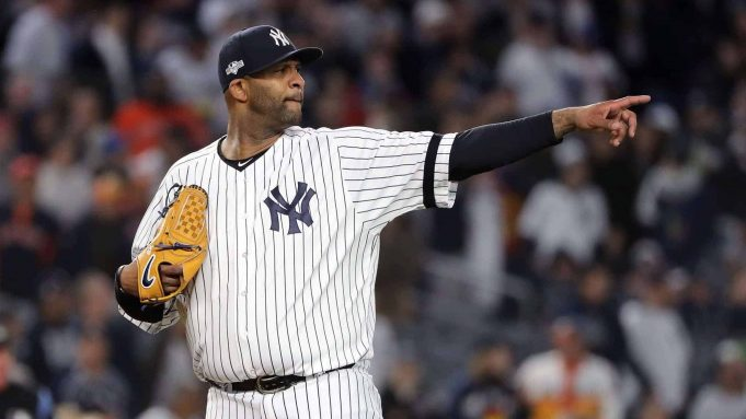 NEW YORK, NEW YORK - OCTOBER 17: CC Sabathia #52 of the New York Yankees reacts against the Houston Astros during the eighth inning in game four of the American League Championship Series at Yankee Stadium on October 17, 2019 in New York City.