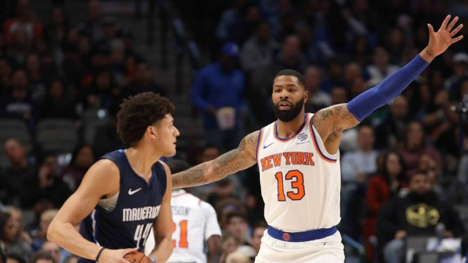 DALLAS, TEXAS - NOVEMBER 08: Marcus Morris Sr. #13 of the New York Knicks at American Airlines Center on November 08, 2019 in Dallas, Texas.