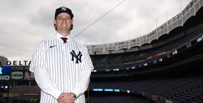 NEW YORK, NEW YORK - DECEMBER 18: Gerrit Cole pose for a photo at Yankee Stadium during a press conference at Yankee Stadium on December 18, 2019 in New York City.