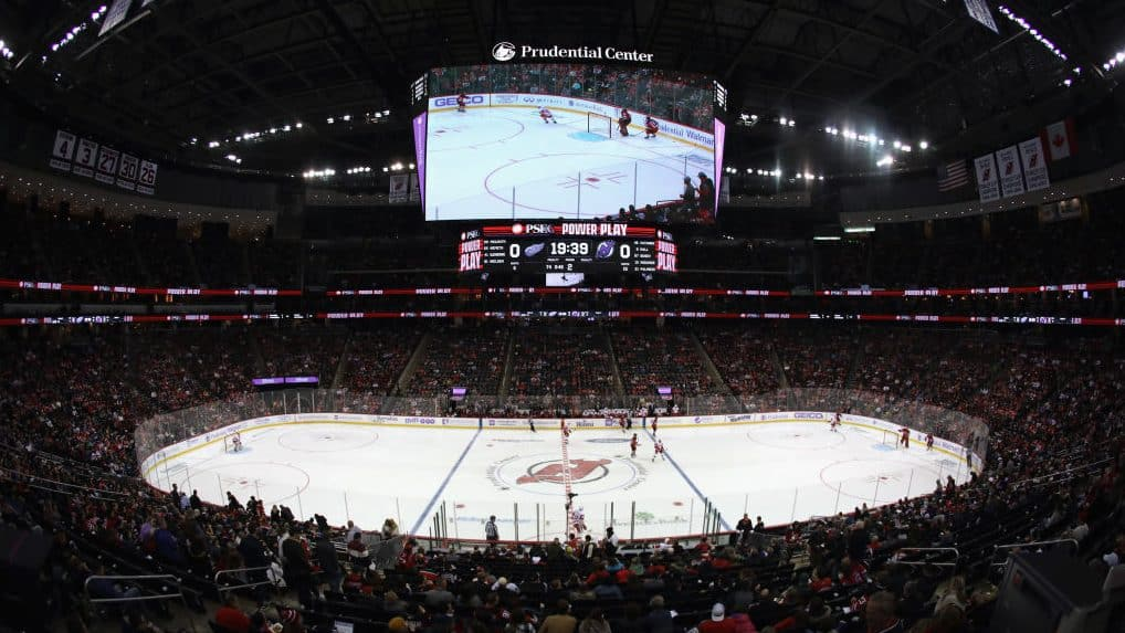 NEWARK, NEW JERSEY - NOVEMBER 23: The Detroit Red Wings play against the New Jersey Devils at the Prudential Center on November 23, 2019 in Newark, New Jersey.
