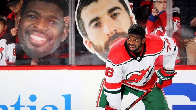 NEWARK, NEW JERSEY - NOVEMBER 30: P.K. Subban #76 of the New Jersey Devils stands near a giant cutout of his and teammate Kyle Palmieri's head during warm ups before the game against the New York Rangers at Prudential Center on November 30, 2019 in Newark, New Jersey.