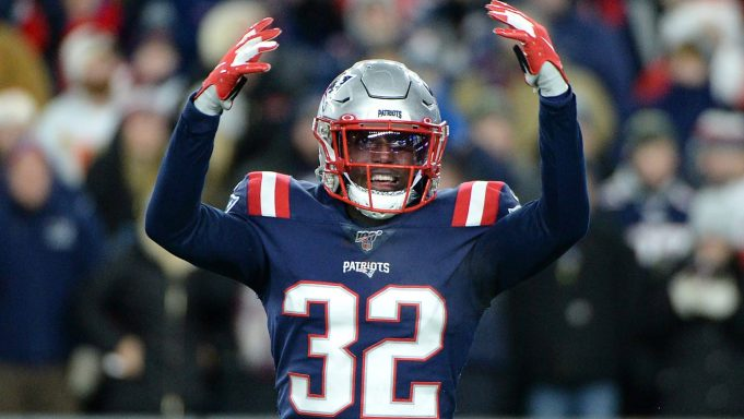 FOXBOROUGH, MASSACHUSETTS - DECEMBER 08: Devin McCourty #32 of the New England Patriots reacts during the second half against the Kansas City Chiefs in the game at Gillette Stadium on December 08, 2019 in Foxborough, Massachusetts.