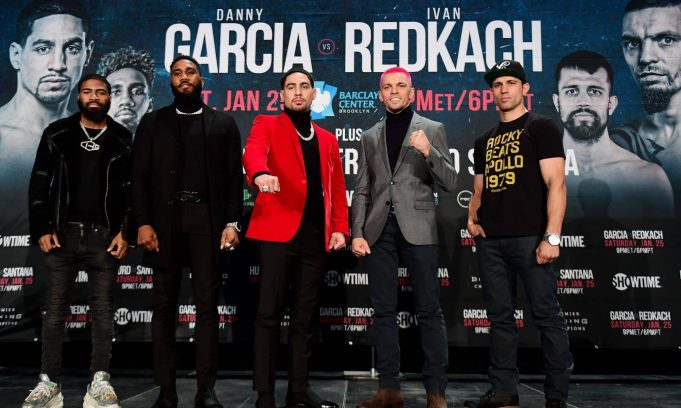 NEW YORK, NEW YORK - DECEMBER 18: Stephen Fulton, Jarrett Hurd, Danny Garcia, Ivan Redkach, and Francisco Santana pose for a photo during a press conference at Barclays Center on December 18, 2019 in New York City. Danny Garcia of the United States and Ivan Redkach of Ukraine will headline this event on January 25 at Barclays Center.