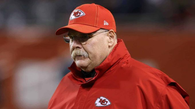 CHICAGO, ILLINOIS - DECEMBER 22: Head coach Andy Reid of the Kansas City Chiefs looks on before playing the Chicago Bears at Soldier Field on December 22, 2019 in Chicago, Illinois.