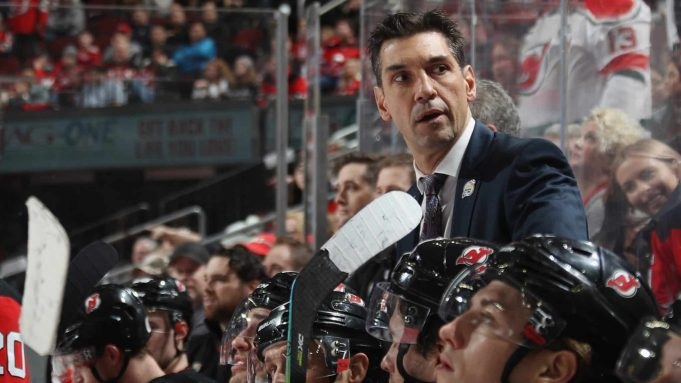 NEWARK, NEW JERSEY - JANUARY 04: Alain Nasreddine, head coach of the New Jersey Devils works the game against the Colorado Avalanche at the Prudential Center on January 04, 2020 in Newark, New Jersey.
