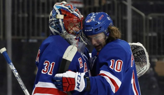 NEW YORK, NEW YORK - JANUARY 07: Igor Shesterkin #31 of the New York Rangers celebrates his 5-3 victory in his first NHL game against the Colorado Avalanche and is hugged by Artemi Panarin #10 at Madison Square Garden on January 07, 2020 in New York City.