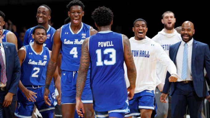 INDIANAPOLIS, IN - JANUARY 15: Seton Hall Pirates players react at the end of the game against the Butler Bulldogs at Hinkle Fieldhouse on January 15, 2020 in Indianapolis, Indiana. Seton Hall defeated Butler 78-70.