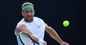 MELBOURNE, AUSTRALIA - JANUARY 24: Tennys Sandgren of the United States plays a forehand during his Men's Singles third round match against Sam Querrey of the United States on day five of the 2020 Australian Open at Melbourne Park on January 24, 2020 in Melbourne, Australia.