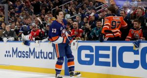 ST LOUIS, MISSOURI - JANUARY 24: Mathew Barzal #13 of the New York Islanders reacts after competing in the Bridgestone NHL Fastest Skater during the 2020 NHL All-Star Skills Competition at Enterprise Center on January 24, 2020 in St Louis, Missouri.
