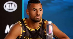MELBOURNE, AUSTRALIA - JANUARY 27: Nick Kyrgios of Australia speaks at his post match press conference on day eight of the 2020 Australian Open at Melbourne Park on January 27, 2020 in Melbourne, Australia.