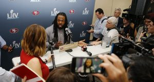 MIAMI, FLORIDA - JANUARY 28: Richard Sherman #25 of the San Francisco 49ers speaks to the media during the San Francisco 49ers media availability prior to Super Bowl LIV at the James L. Knight Center on January 28, 2020 in Miami, Florida.