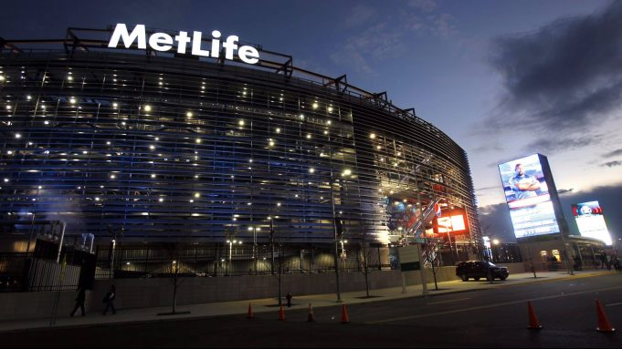 EAST RUTHERFORD, NJ - JANUARY 1: Exterior of MetLife Stadium before the start of the Dallas Cowboys vs New York Giants on January 1, 2012 in East Rutherford, New Jersey.