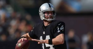 OAKLAND, CA - SEPTEMBER 13: Matt McGloin #14 of the Oakland Raiders looks to pass against the Cincinnati Bengals during the second half of their NFL game at O.co Coliseum on September 13, 2015 in Oakland, California.