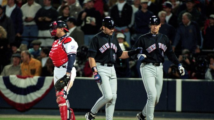 19 Oct 1999: Mike Piazza #31 of the New York Mets celebrates with Robin Ventura #4 during the National League Championship Series game six against the Atlanta Braves at Turner Field in Atlanta, Georgia. The Braves defeated the Mets 10-9.