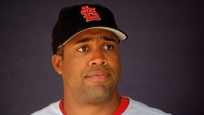 28 Sep 2000: Eduardo Perez #33 of the St. Louis Cardinals looks on from the dugout during the game against the San Diego Padres at the Qualcomm Stadium in San Diego, California. The Cardinals defeated the Padres 7-6.