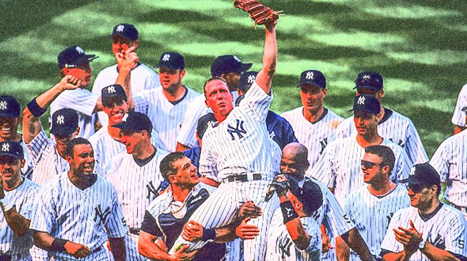 18 Jul 1999: Pitcher David Cone #36 of the New York Yankees is being carried by his teammates after the game against the Montreal Expos at the Yankee Stadium in the Bronx, New York. David Cone pitched a perfect game to allow the Yankees to defeat the Expos 6-0.